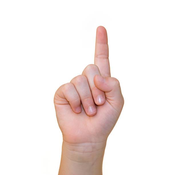 Finger zeigt auf Weiß – Foto