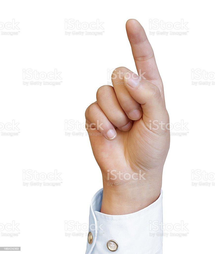 Finger pressing a button stock photo