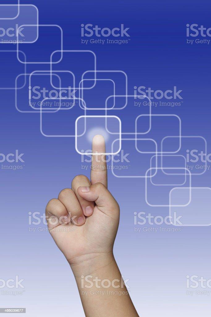 Finger pressing a touchscreen button stock photo
