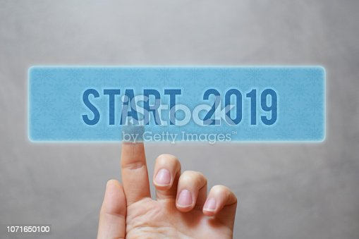 istock Finger pressing blue start 2019 button 1071650100