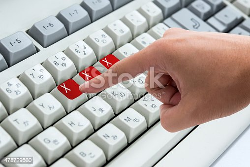 istock Finger pressing button Keywords xxx on keyboard computer 478729560