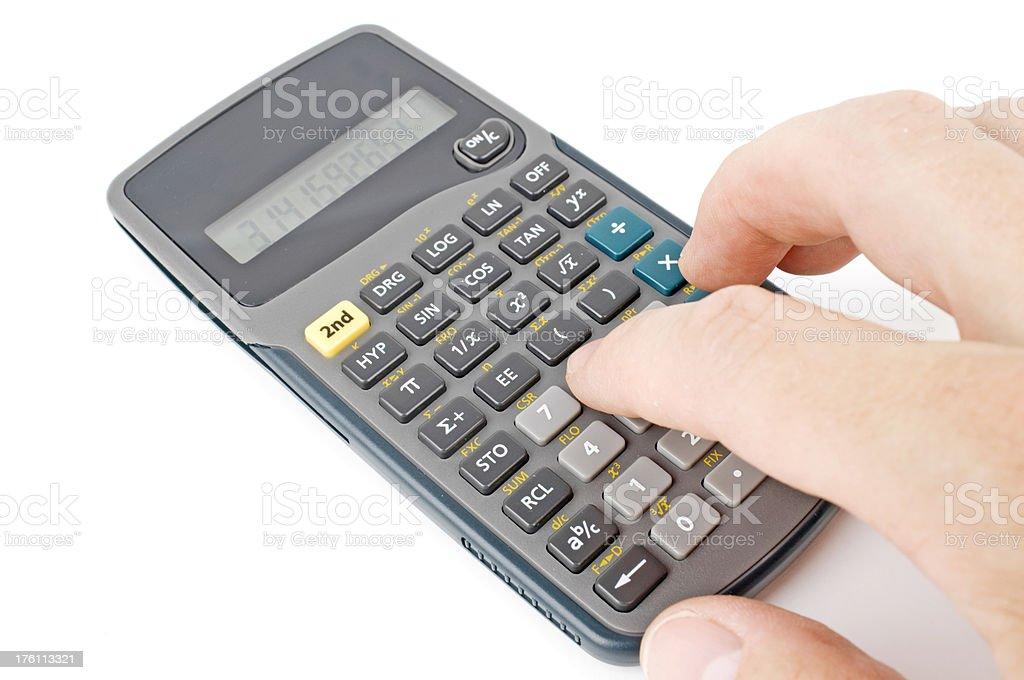 finger pressing keys on a calculator royalty-free stock photo