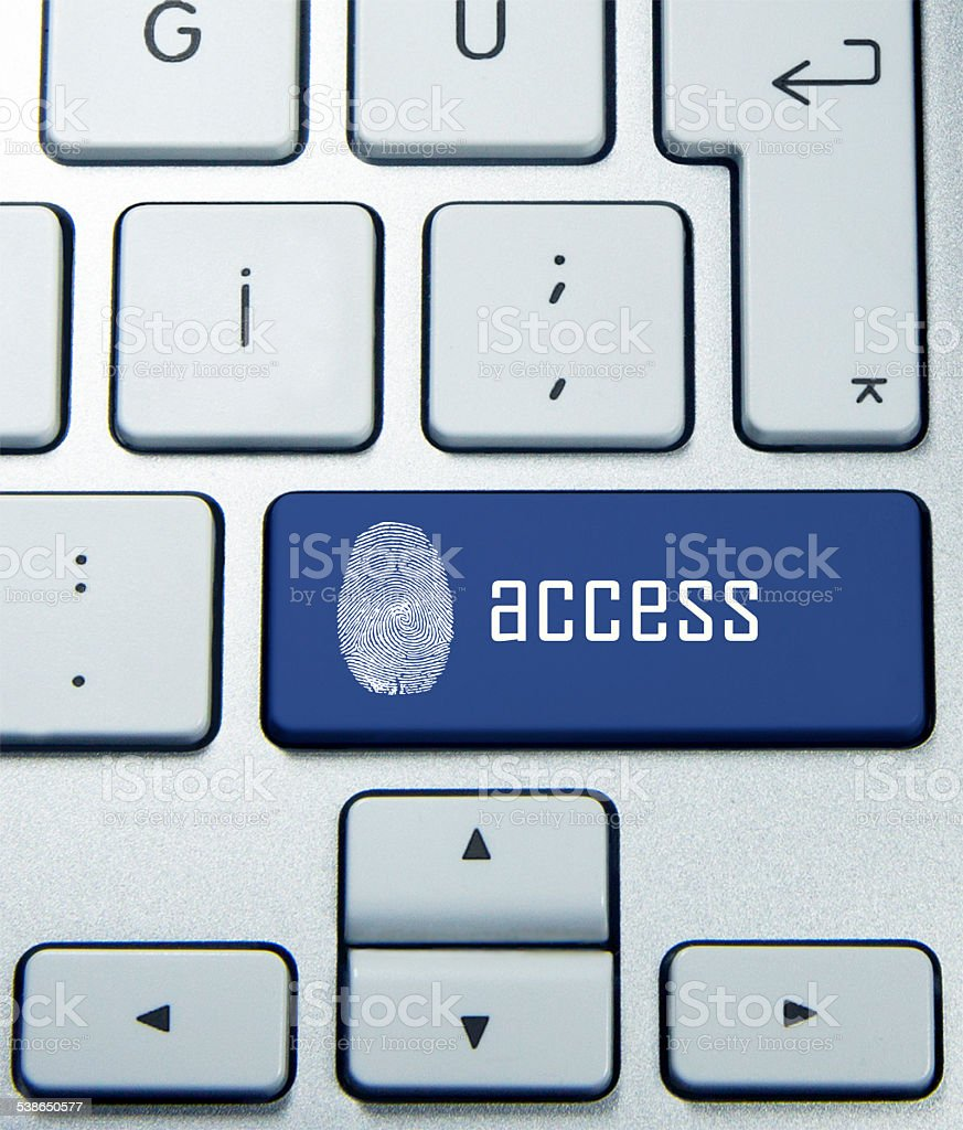 finger print access  on keyboard stock photo