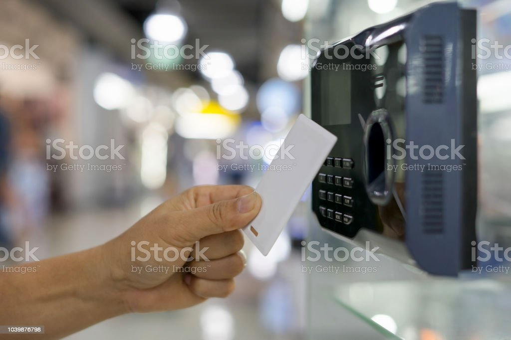 Finger print and key card scan for enter security system. stock photo