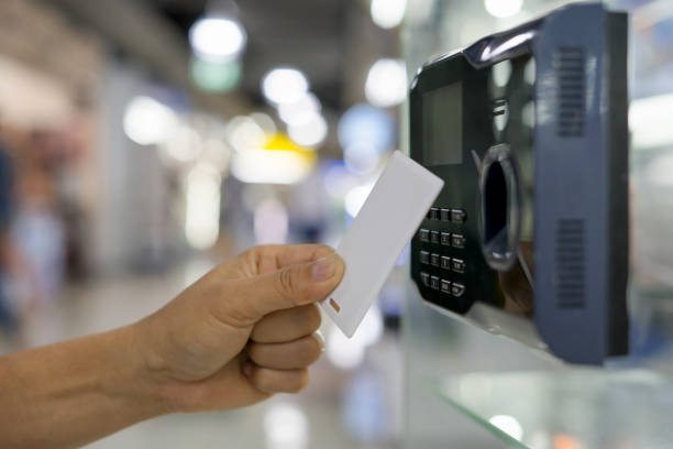 Finger print and key card scan for enter security system. Finger print and key card scan for enter security system. attending stock pictures, royalty-free photos & images