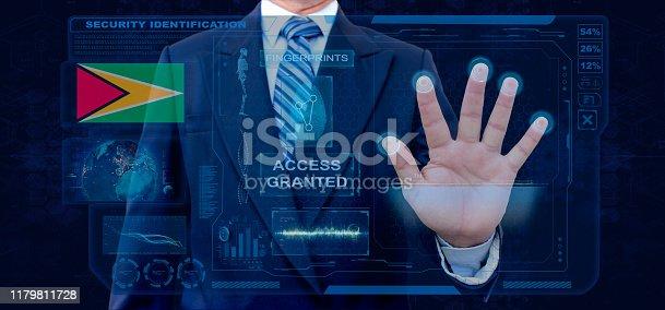 istock Finger Print Biometric Scanning Identification System. Businessman scan fingerprint biometric identity and approval. Guyana Nationality 1179811728