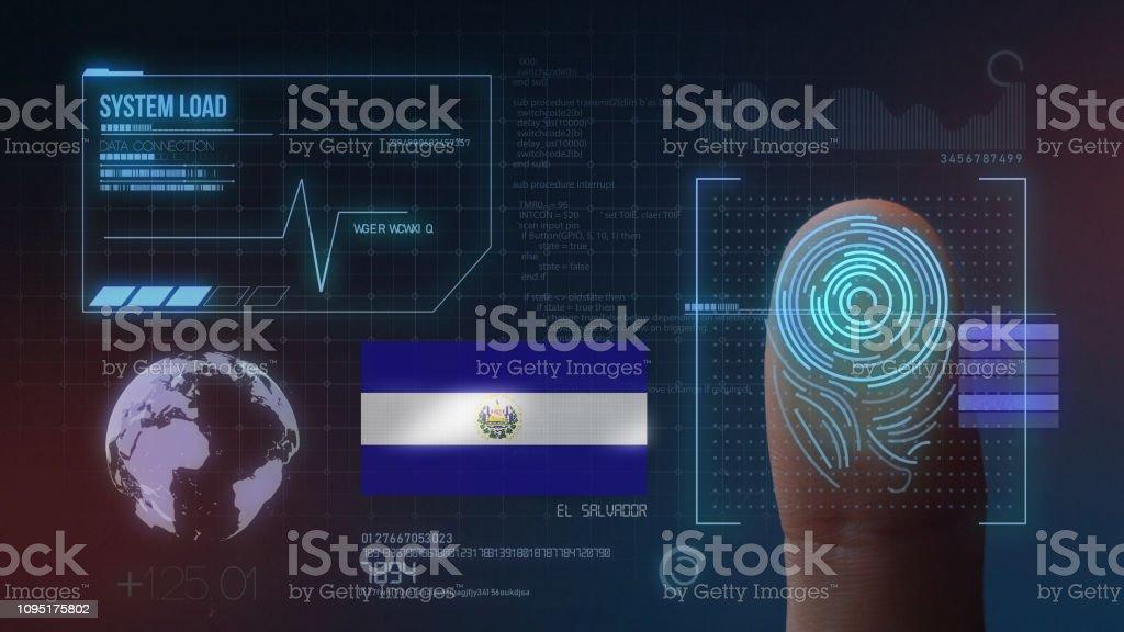 Sistema de identificación biométrico de huella. Nacionalidad del Salvador - foto de stock