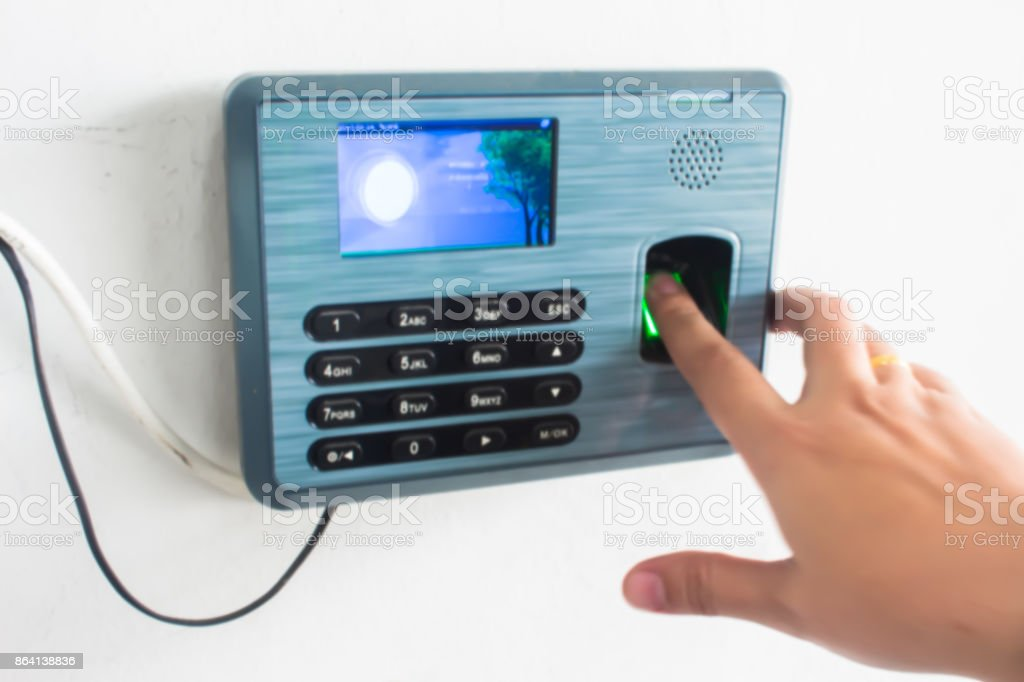 Finger print scan for enter security system. blur picture royalty-free stock photo