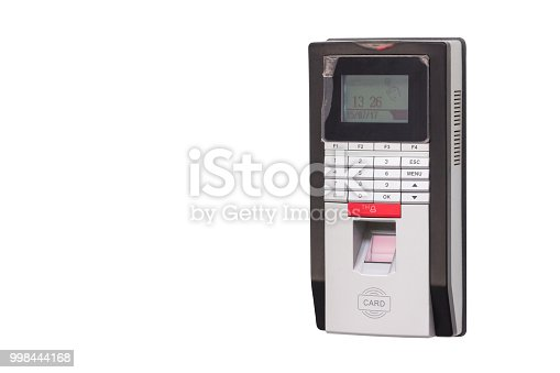 1058987638 istock photo finger print scan for security door and record time working isolate on white background with clipping path 998444168