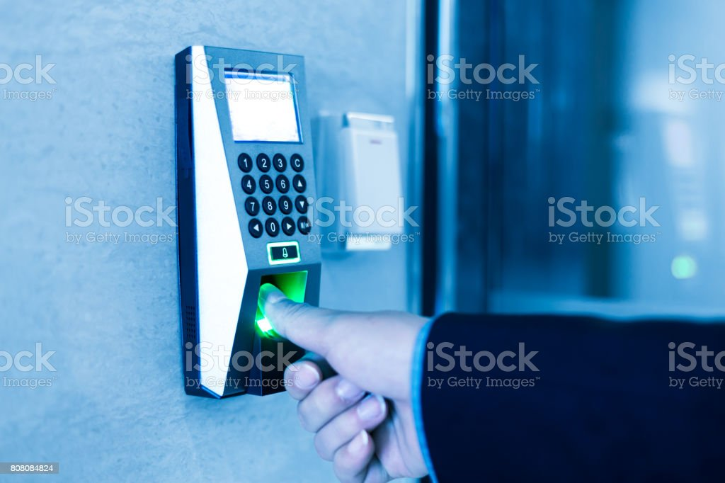 finger print scanner stock photo