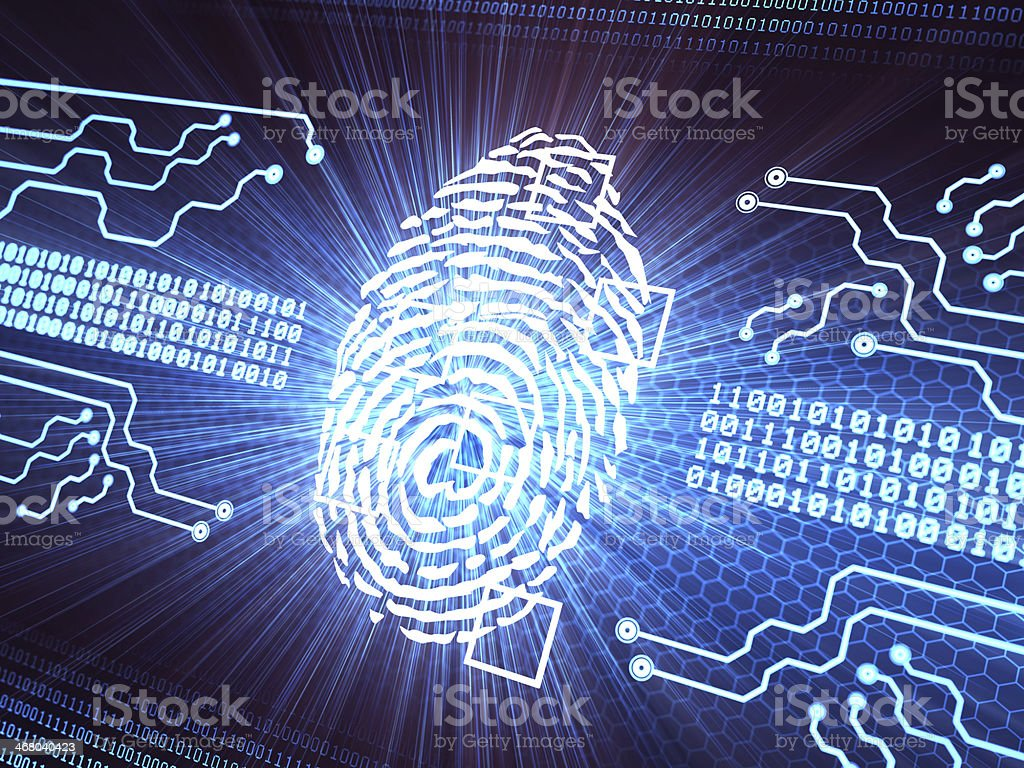 A finger print security system with chip technology stock photo
