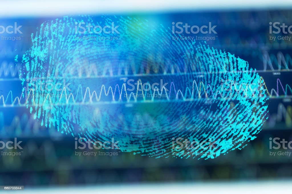 finger print with DNA code stock photo