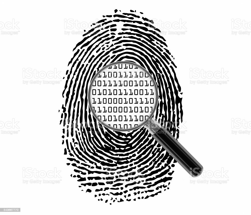Finger Print with Magnifying Glass and Binary Code stock photo
