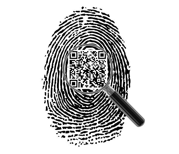 finger print with magnifying glass and qr code - horse bit stock pictures, royalty-free photos & images