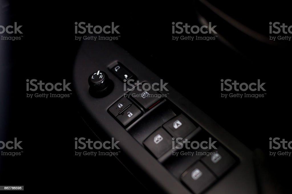 car door lock button. Finger Push Lock Button Of Car Doors. Stock Photo Door