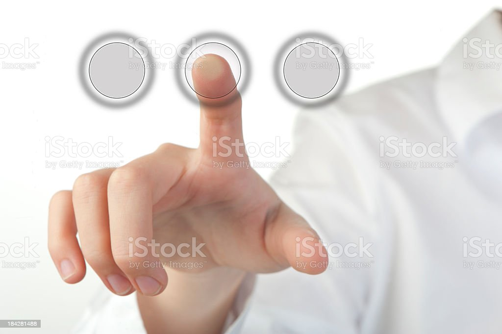 Finger pushing a go button stock photo