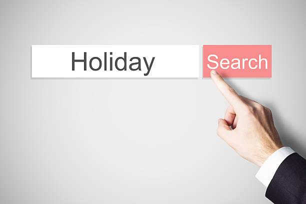 """finger schieben flache web-suche """"holiday - flugticket vergleich stock-fotos und bilder"""