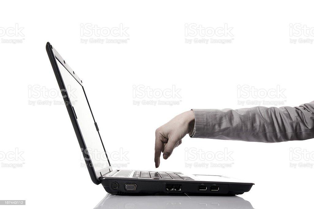 Finger Pushing Key on Computer royalty-free stock photo