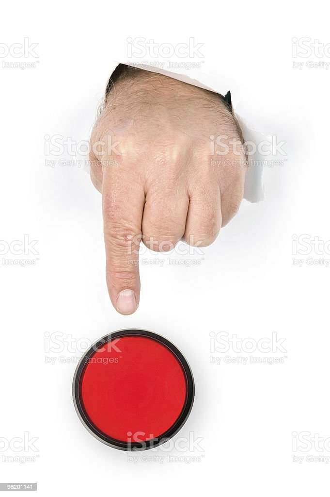 Finger pushing stop button royalty-free stock photo