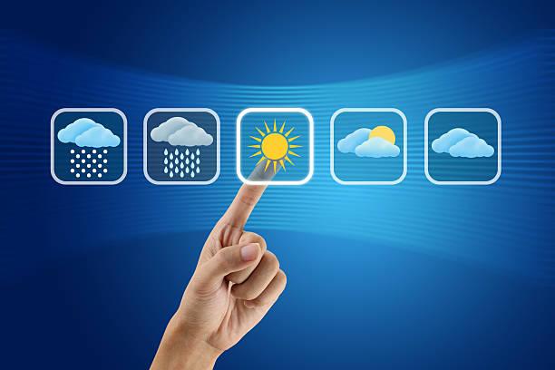 指で創り出される天気アイコン - 天気予報 ストックフォトと画像