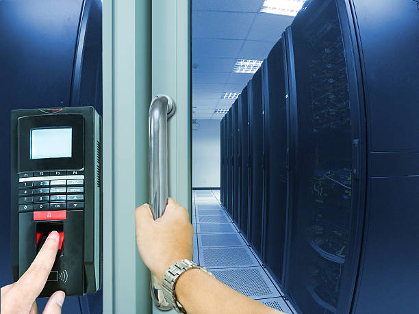 Finger scan security for entry server room stock photo