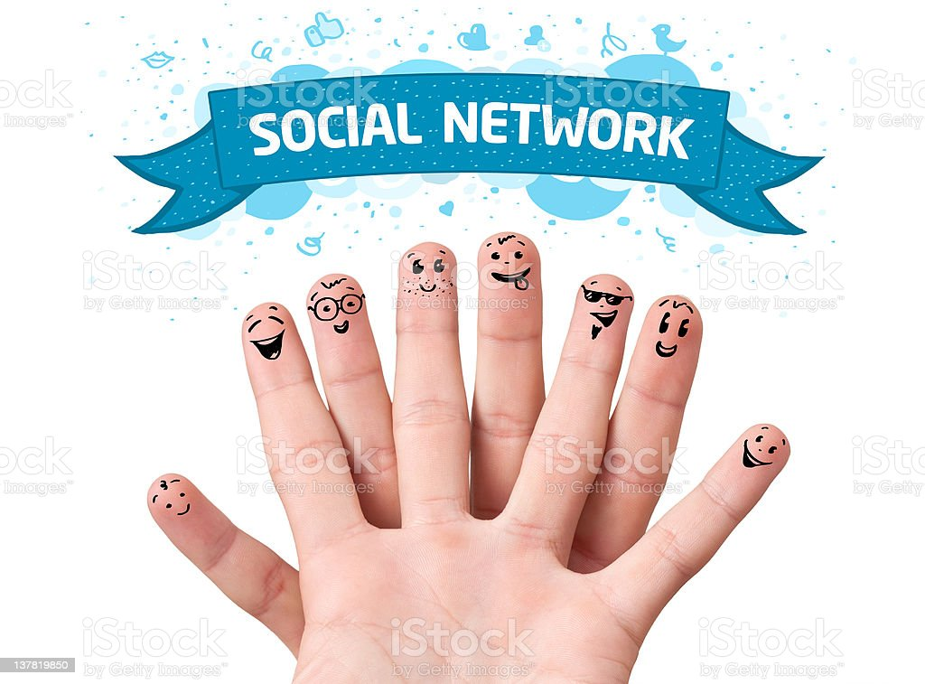 finger smileys with social network sign royalty-free stock photo