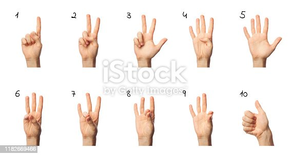 istock Finger spelling numbers from 1 to 10 in ASL on white background. American Sign Language concept 1182669466