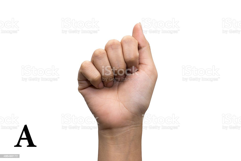 Finger Spelling the Alphabet in American Sign Language. Letter A stock photo