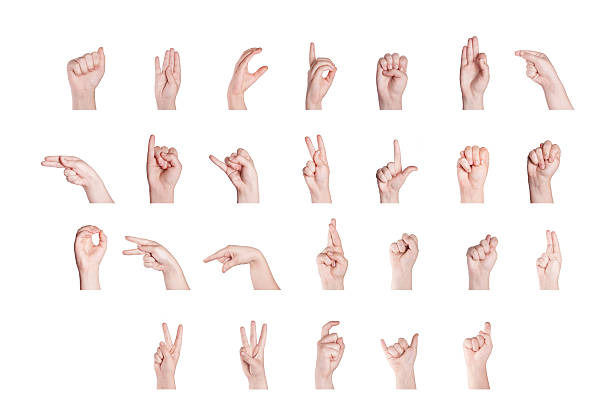 finger spelling the alphabet - sign language stock photos and pictures