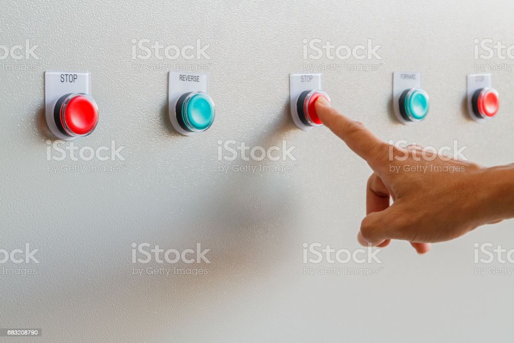 Finger touch on red stop button. royalty-free 스톡 사진