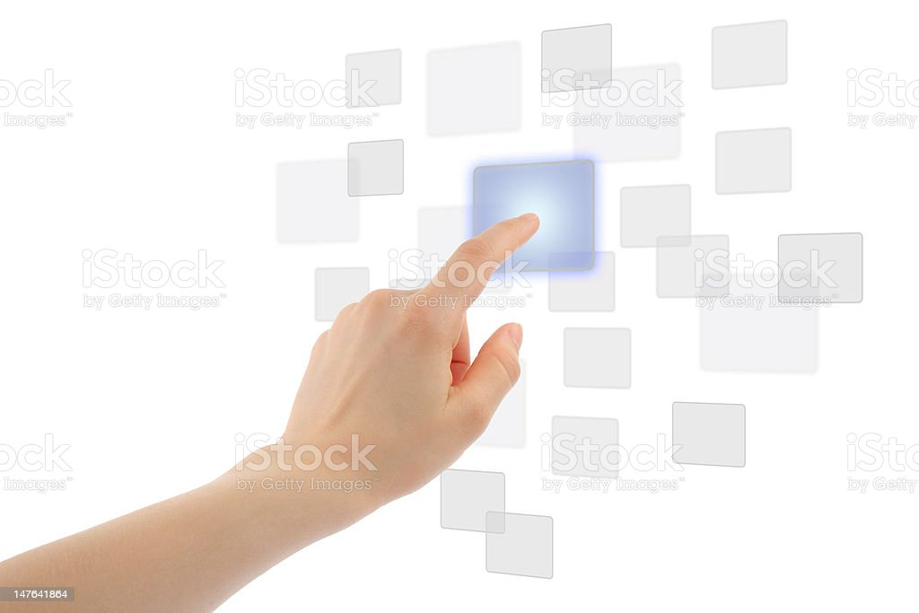 Finger touching blue button on a touch screen royalty-free stock photo