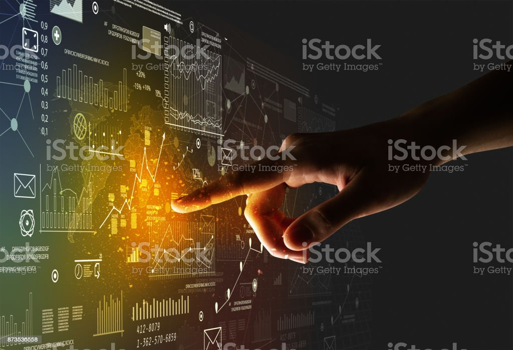 Finger touching interface stock photo