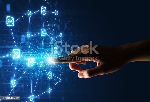 istock Finger touching interface 873538782