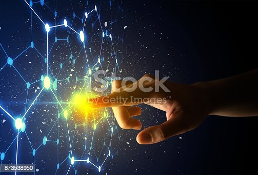 istock Finger touching interface 873538950