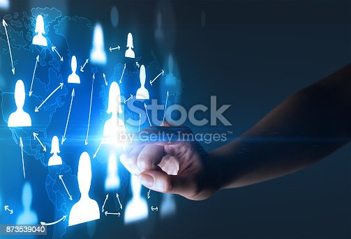 istock Finger touching interface 873539040
