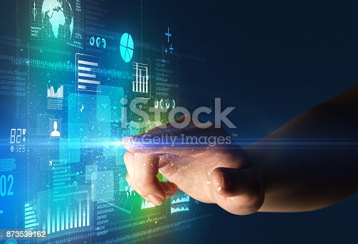 istock Finger touching interface 873539162