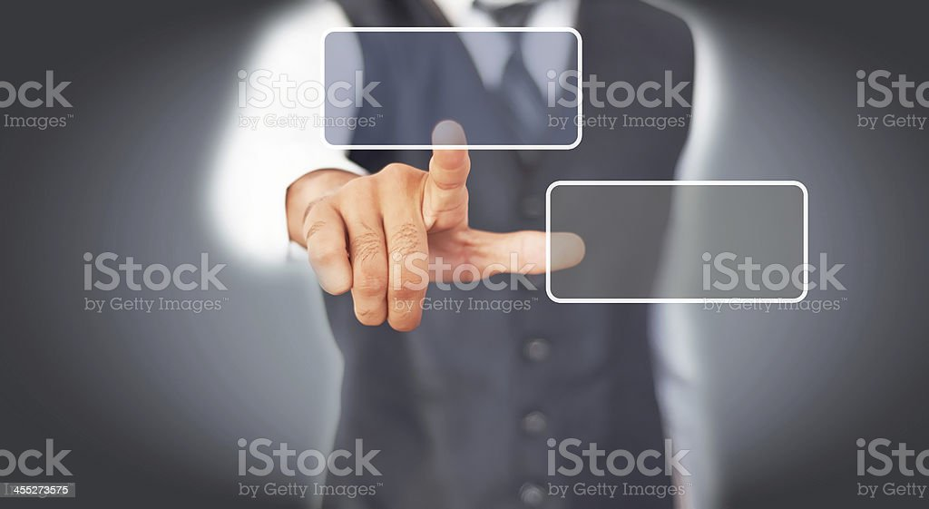 finger touching push button on touch screen stock photo istock