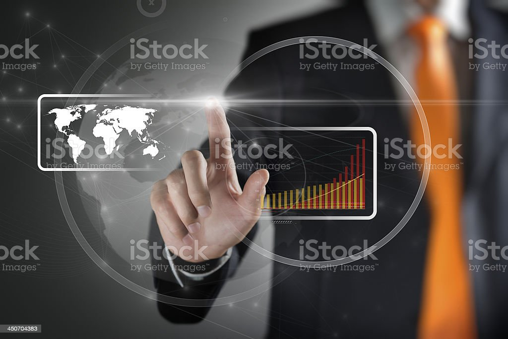 Finger touching screen with map and bar graph royalty-free stock photo