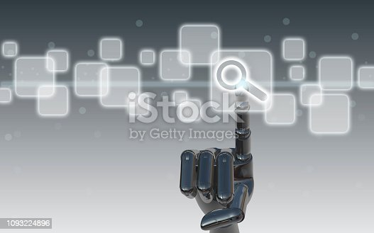 492960182 istock photo Finger touching search button on touch screen 1093224896