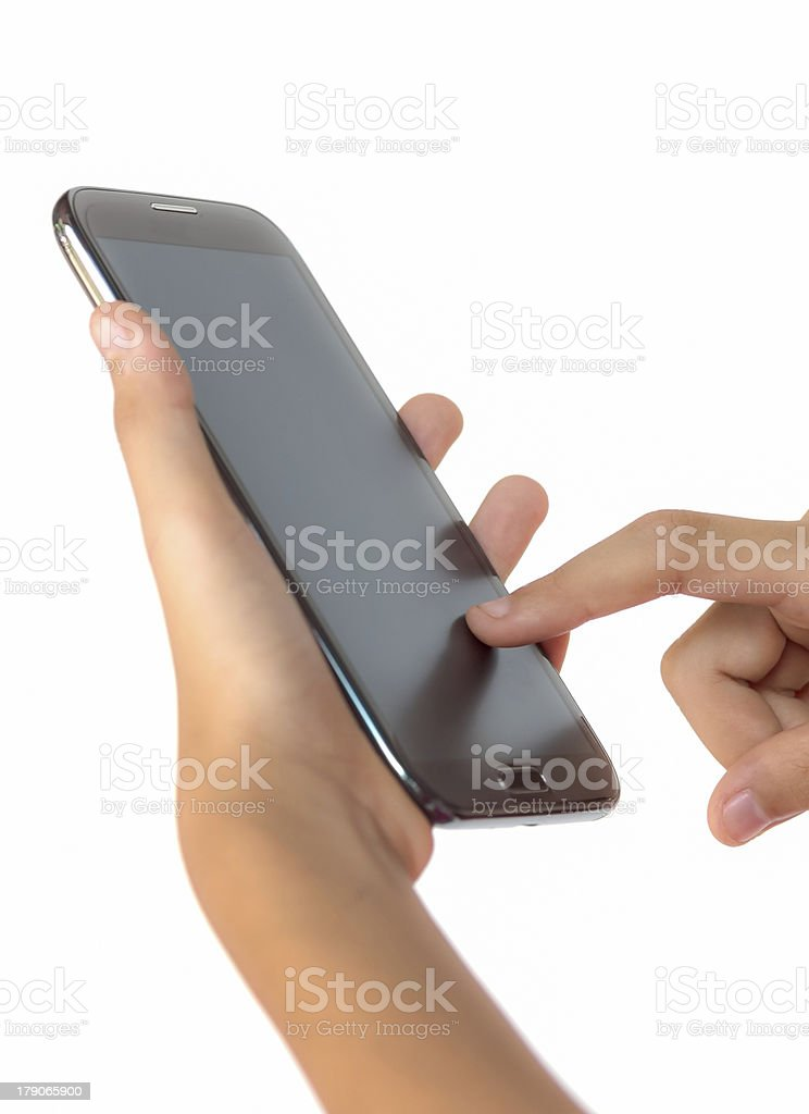 Finger touching smartphone royalty-free stock photo