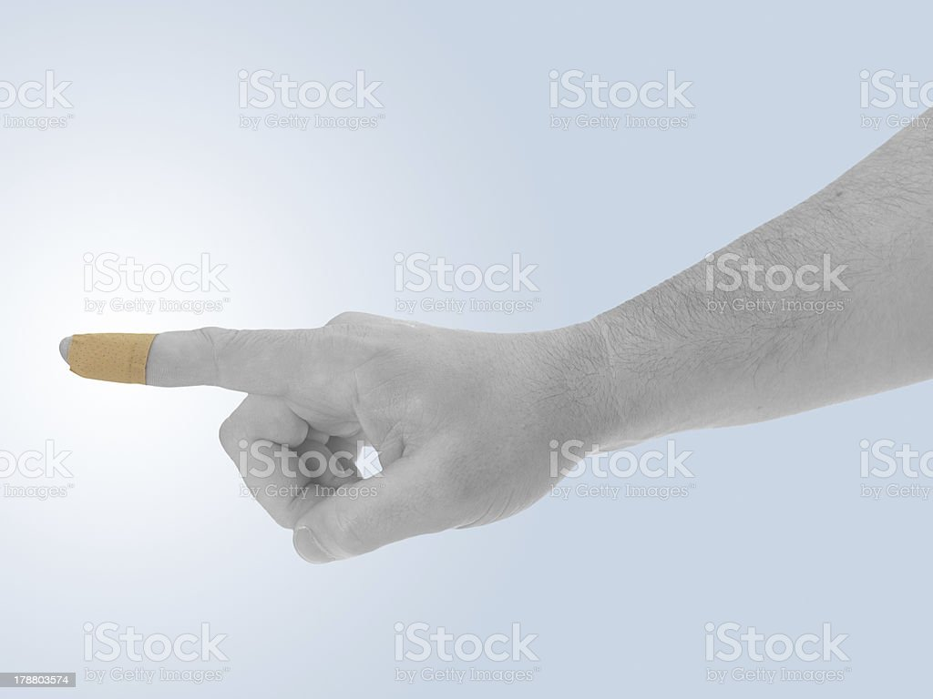 Finger with Healing plaster. royalty-free stock photo