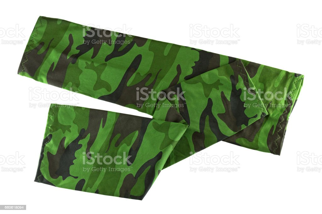 Fingerless sleeve in green camouflage patterns to cover and protect arm from harmful sun, UV ray stock photo