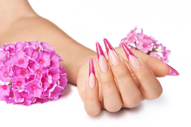 fingernägel mit blumen - nails stiletto stock-fotos und bilder