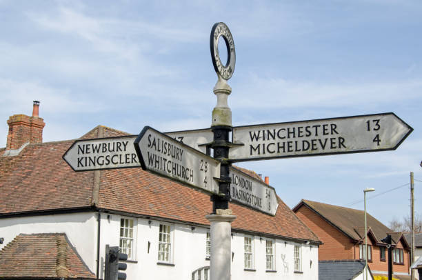 Fingerpost, Overton stock photo