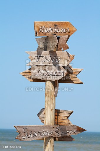 Fingerpost with directions to cities in world at beach in Belgium between Blankenberge and De Haan