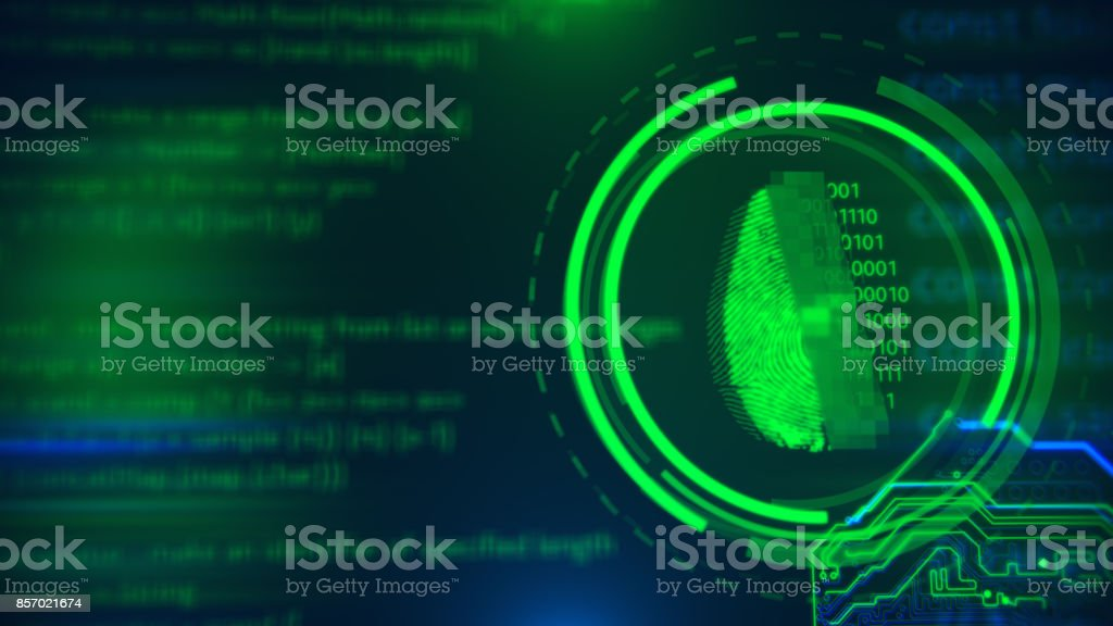 Fingerprint access button. Cyber security and information technology. stock photo