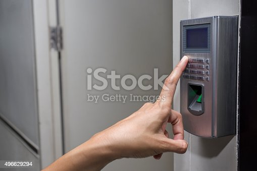 896596886 istock photo fingerprint and access control in a office building 496629294