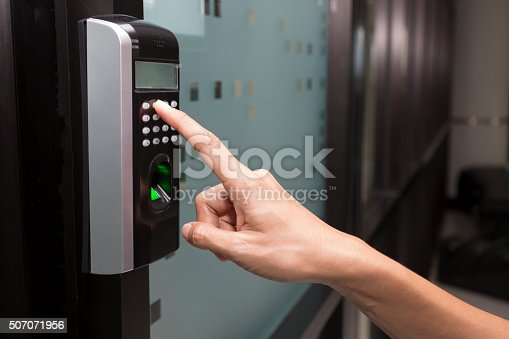 896596886 istock photo fingerprint and access control in a office building 507071956
