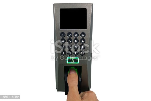 istock fingerprint and access control in a office building 886118282