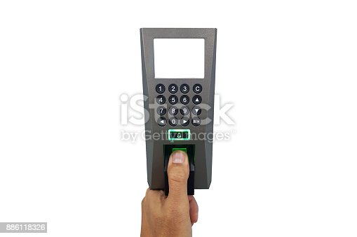 istock fingerprint and access control in a office building 886118326